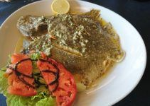 baked turbot with lemon. turbot has many proteins, vitamins and fatty acids